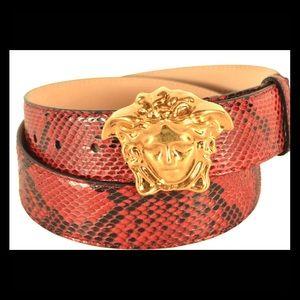 NWTS Versace *RARE* Red/Black Snakeskin Belt